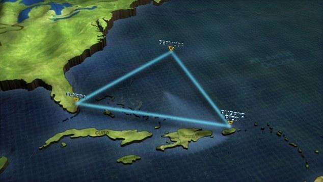 Бермудският триъгълник се определя от точки, свързващи Бермуда, Флорида и Пуерто Рико